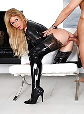 Amazing super hot black latex pornstar fucked hard in this steamy fucking cumfaced screaming pic set