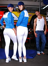 2 super hot monster ass babes get fucked in their asses in these hot nascar babe fucking pics