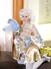 Pussy Playing In Wig, Mask, & Gown