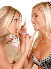 Hot blondes licking and dildoing