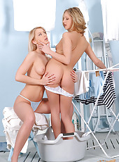 Two Slim Blondes in Lesbian Action
