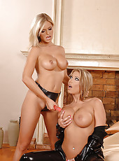 Busty Sapphic blonde babes toying