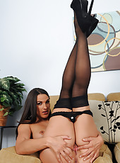 Tight and 30 year old Misty Anderson spreads wearing black stockings