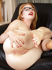 Pale ginger haired Madison Young sucking on her gorgeous toes
