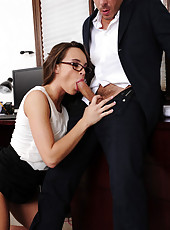 Teal Conrad gets caught taking pictures of documents and fucks her way out of it.