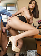 Brunette worker babe wants to have her boss fuck her tight pussy on his desk.