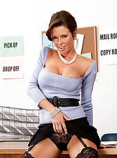 Horny boss, Veronica Avluv  takes care of business by fucking and sucking her employees huge hard cock.