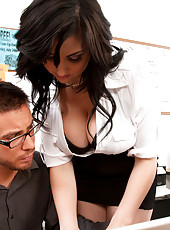 Beverly Paige sucks dick and gets fucked hard in the office.