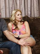2 sexy blondes Sarah Vandella and Tasha Reign decide to have hot threesome with big cock.