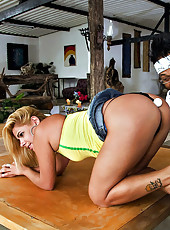 Hot big ass brazilian fucked hard against the pool table in these beach side fucking public pics