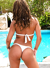 Mega hot fucking ass brazilian babe takes a hard cock deep in her slim body hot poolside fuck pics