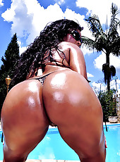 Amaazing mega juicy black ass anina get her brazil ass rammed in these mega dong poolside wet fuck pics