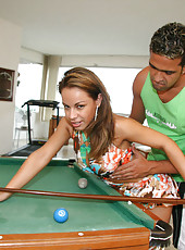This sexy brazillian is getting railed right on this pooltable