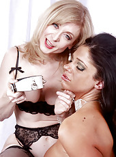 Nina Hartley bondage with Angela
