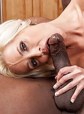 Thin blonde mom Mikki Lynn hard fucked by big black cock