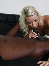 Blonde mom Anikka Albright suck huge black cock and get messy facial