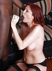 Redhead milf Lya Pink love sucking and fucking huge black rod