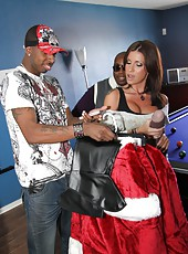 Black Santa fuck hot tattoed milf pornstar Alyiah Stone with huge cock