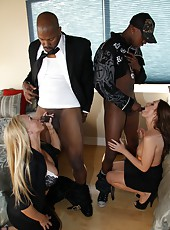 Hot milf pornstars Brooklyn Jade and Lisa Demarco in hardcore interracial orgy