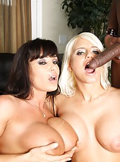Two hot busty milfs Jacky Joy and Lisa Ann banged by black guy