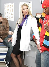 Blonde doctor Jordan Kingsley fucked by big black cock in clinic