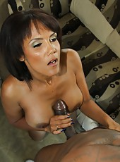 Latina milf Anjanette Astoria fuck on sofa in trailer by black guy