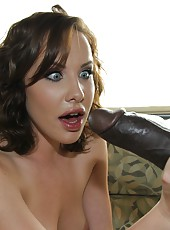 Hot pornstar Katie St. Ives suck huge black cock and fucked hard in trailer