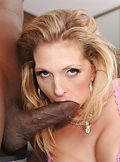 Hot milf Roxanne Hall suck black cock and then ride it