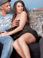 Milf Raven Black service big black cock by her mouth and pussy