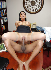 Office girl Mahina suck her black boss dick and fucked on table