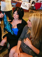Incredible threesome scene with lesbians named Harmony Rose and Tory Lane