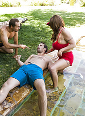Hardcore and hot outdoor fuck with a busty milf named Eva Notty