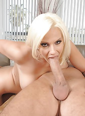 Naughty blonde Lylith Lavey gets a sweet sperm in the tight pussy