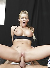 Great and slender girl with big boobs Phoenix Marie fucking with her trainer