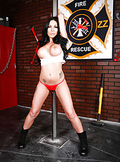 Mesmerizing and buxom firefighter Emily B has sweet time at her workplace
