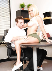 Blonde sweetie with big tits Krissy Lynn enjoys great office fuck