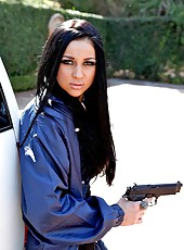 Beautiful brunette sheriff Audrey Bitoni and bad boy with a big cock