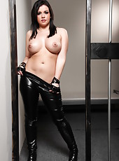 Perfect striptease by ambitious and horny brunette policelady Emma Heart