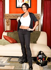Fantastic milf with sexy short hair Dylan Ryder caresses her big tits and spreads butt