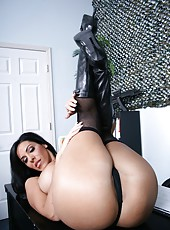 Brunette mistress shows off her fantastic holes and skin from every side
