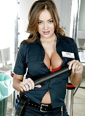 Airport security employee Nika Noire takes off her sexy red lingerie