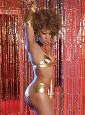 Pretty ebony babe Misty Stone demonstrates her hot body and a sweet pussy