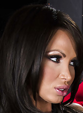 Busty brunette bitch Nikki Benz opens her gentle pussy for a crazy fuck