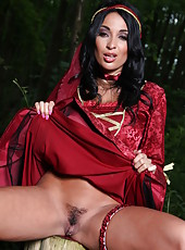 Sexy and beautiful outdoor scene with a busty brunette lady Anissa Kate