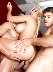 Horny blonde milf Bridgette B gets two cocks in the sweet mouth