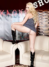 The hottest TV presenter with big tits Kagney Linn Karter gets naked on the cameras