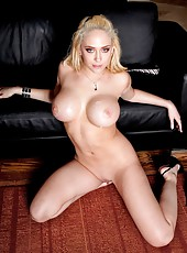 Big titted blonde mistress Kagney Linn Karter fucked on the sofa by a big cock