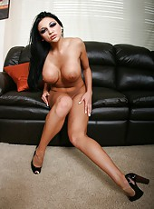 Brunette babe with perfect tanned skin, sexy black hair and big tits - Audrey Bitoni