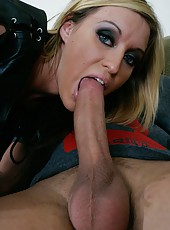 Busty girl Memphis Monroe shows her pussy and gets a strong cock in the mouth