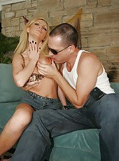 Passionate angel Nikki Benz opens her sweet mouth for a crazy blowjob